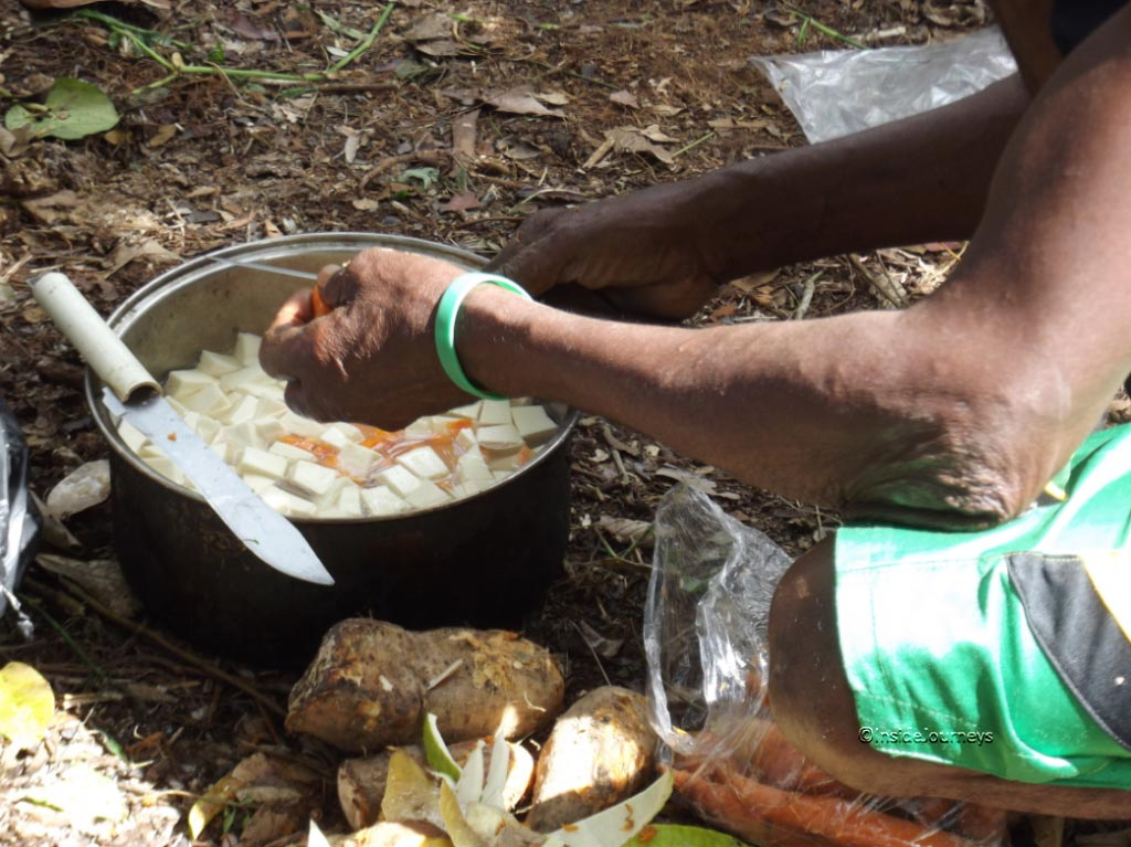 Chopped vegetables for the soup, Jamaica