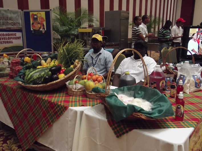 A medley of local fruits and vegetables at a Taste of Jamaica