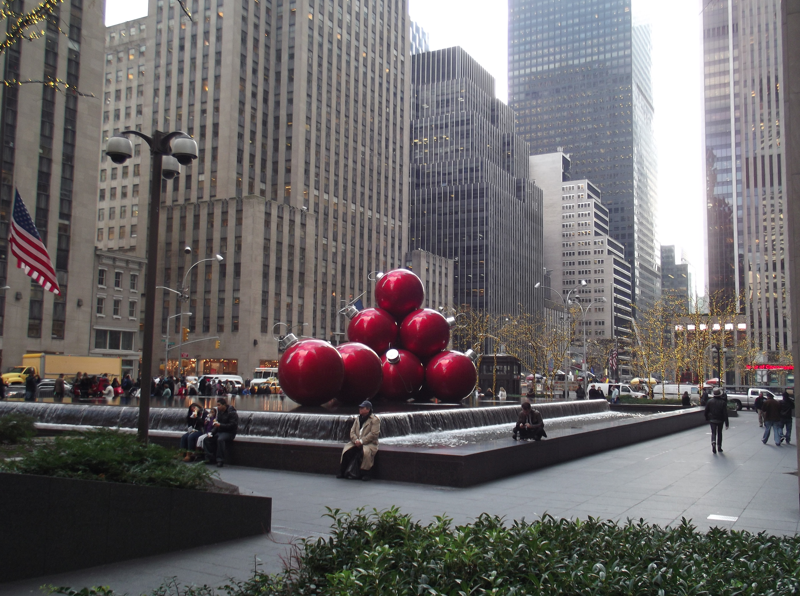 Red balls decorate building in New York