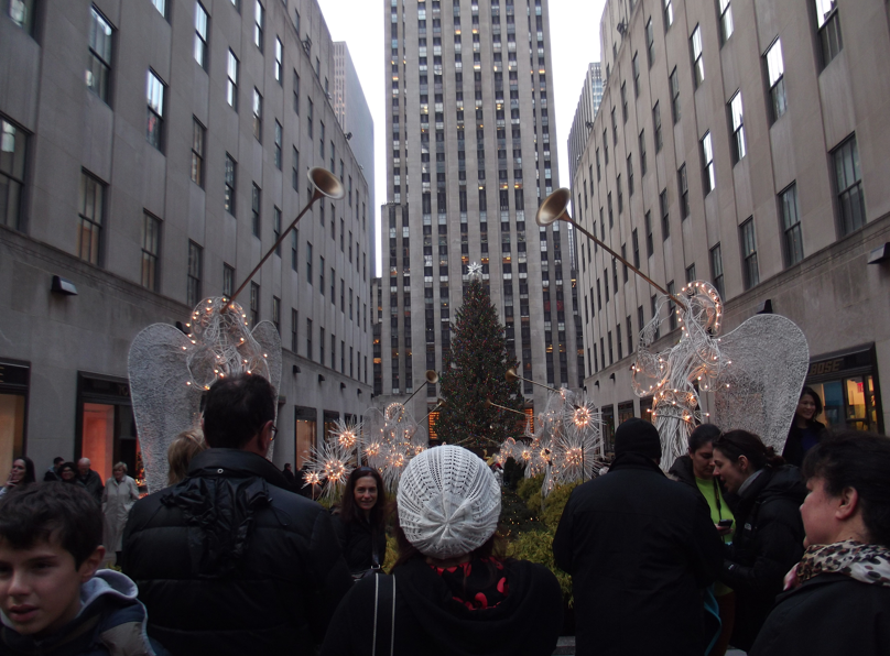 Onlookers at the Rockefeller Center Christmas Tree