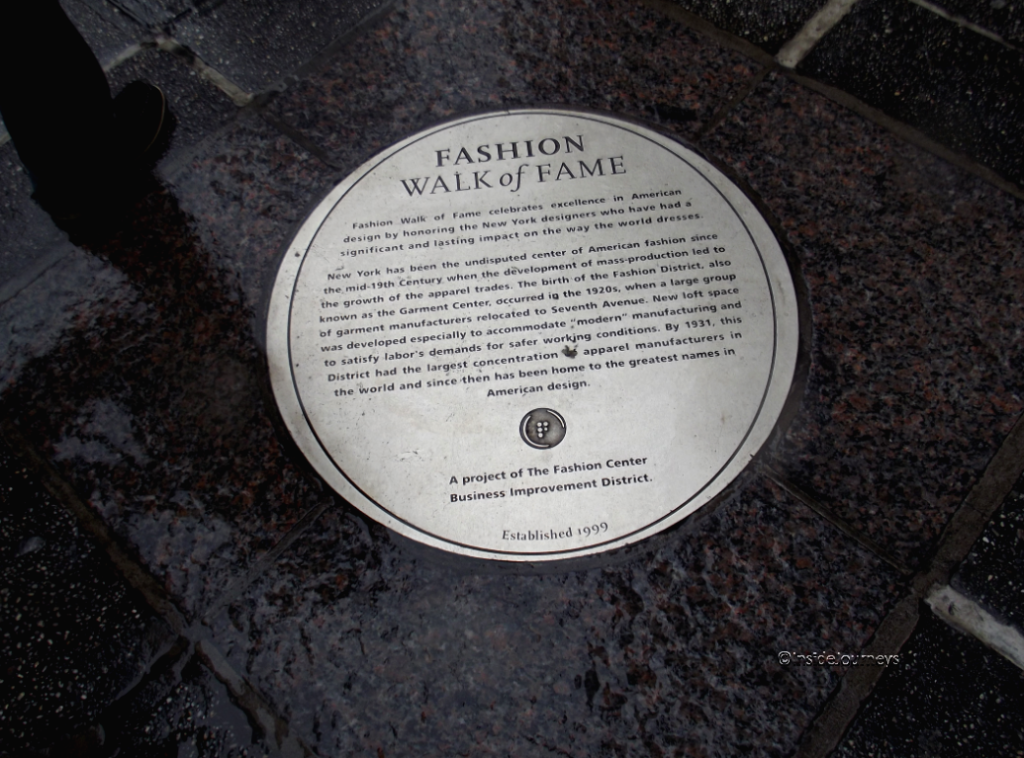 Plaques commemorating designers on Fashion Walk of Fame