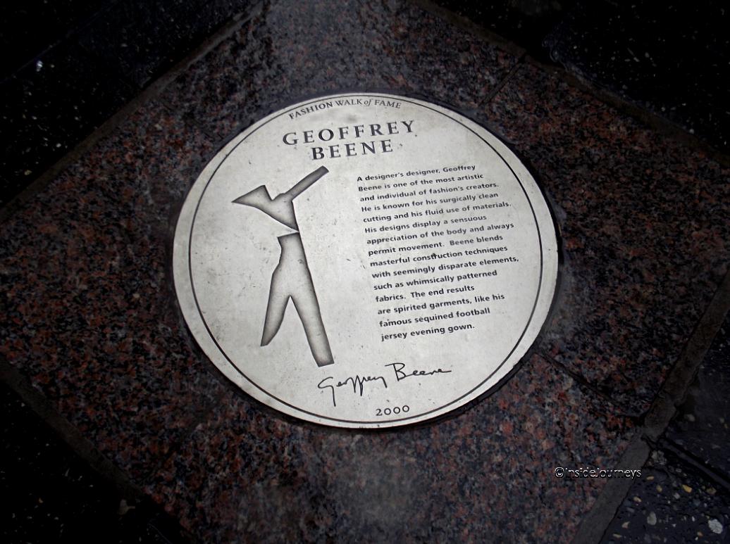 Geoffrey Beene plaque Fashion Walk of Fame