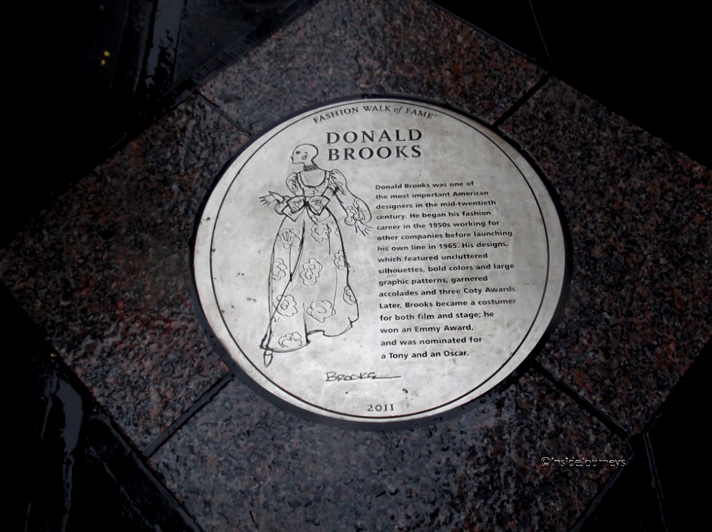 Donald Brooks' plaque, Fashion Walk of Fame