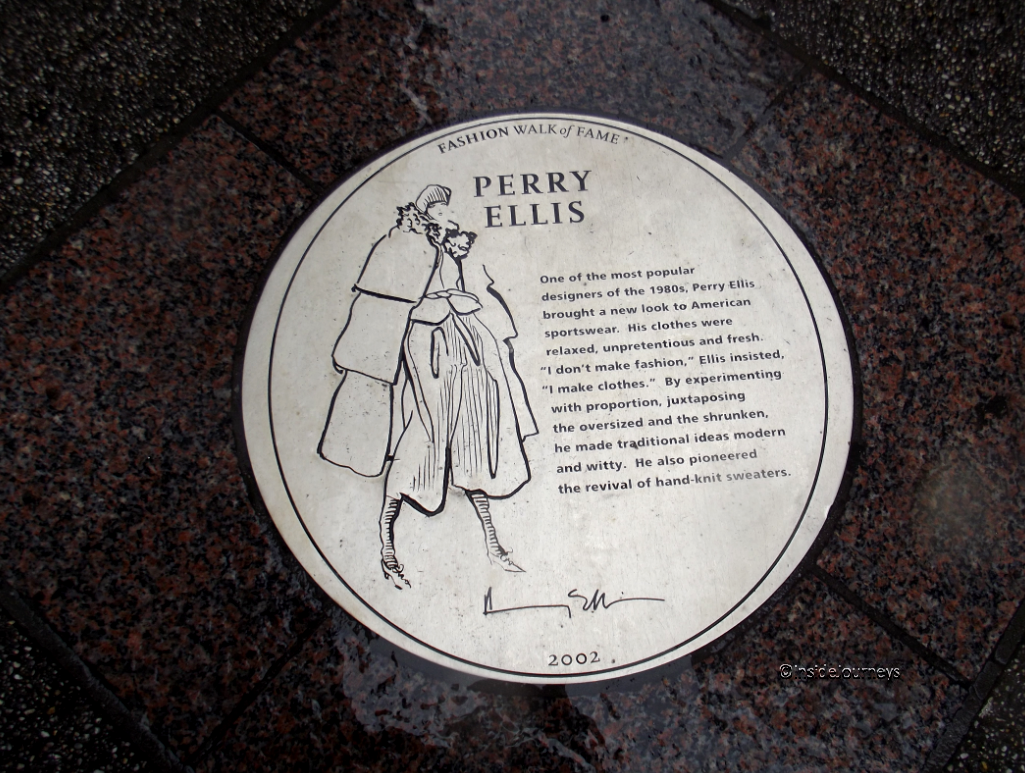 Perry Ellis plaque on Fashion Walk of Fame