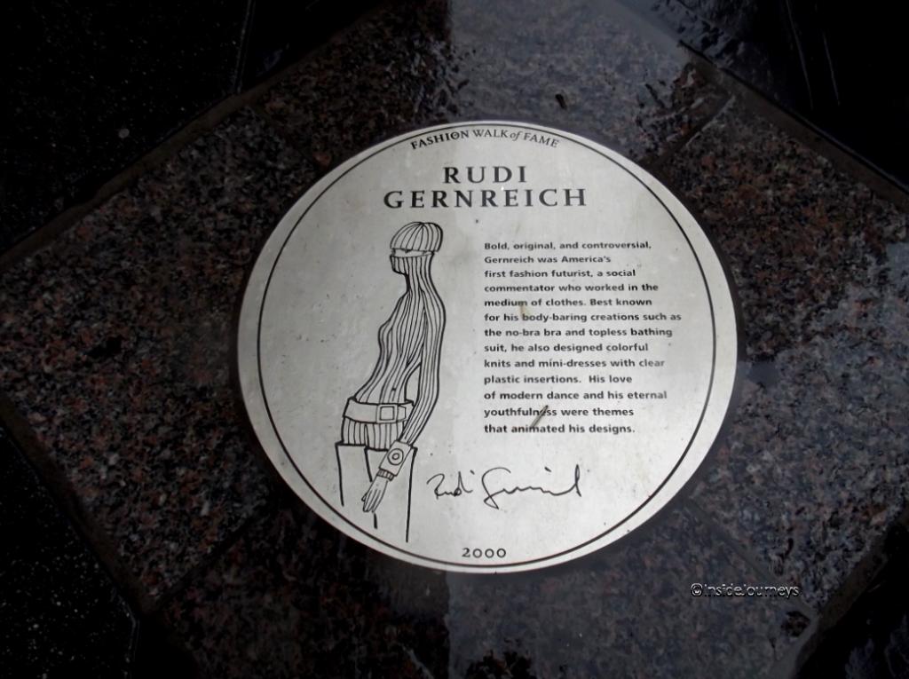 Sidewalk plaque Rudi Gernreich Fashion Walk of Fame