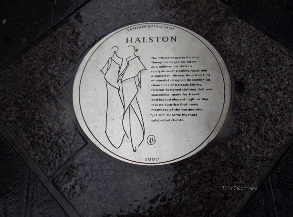 Halston plaque Fashion Walk of Fame