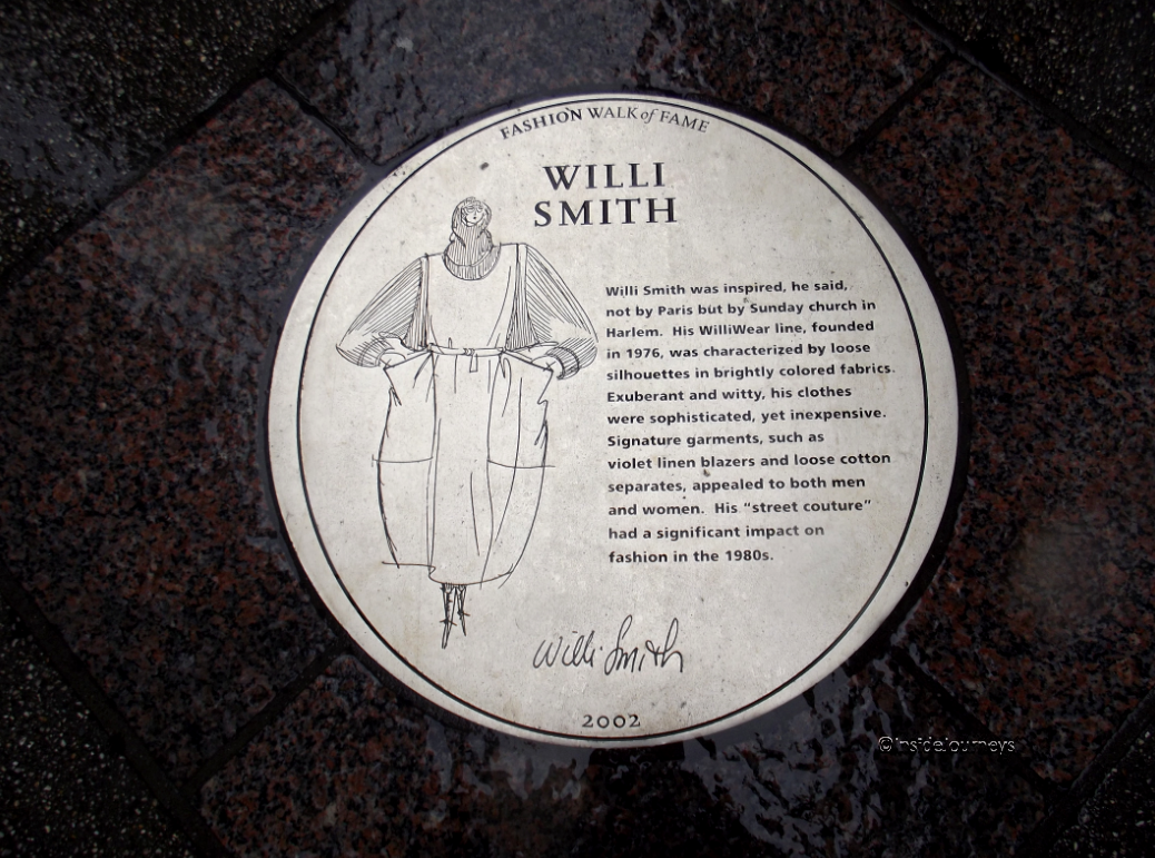 Willie Smith plaque on Fashion Walk of Fame