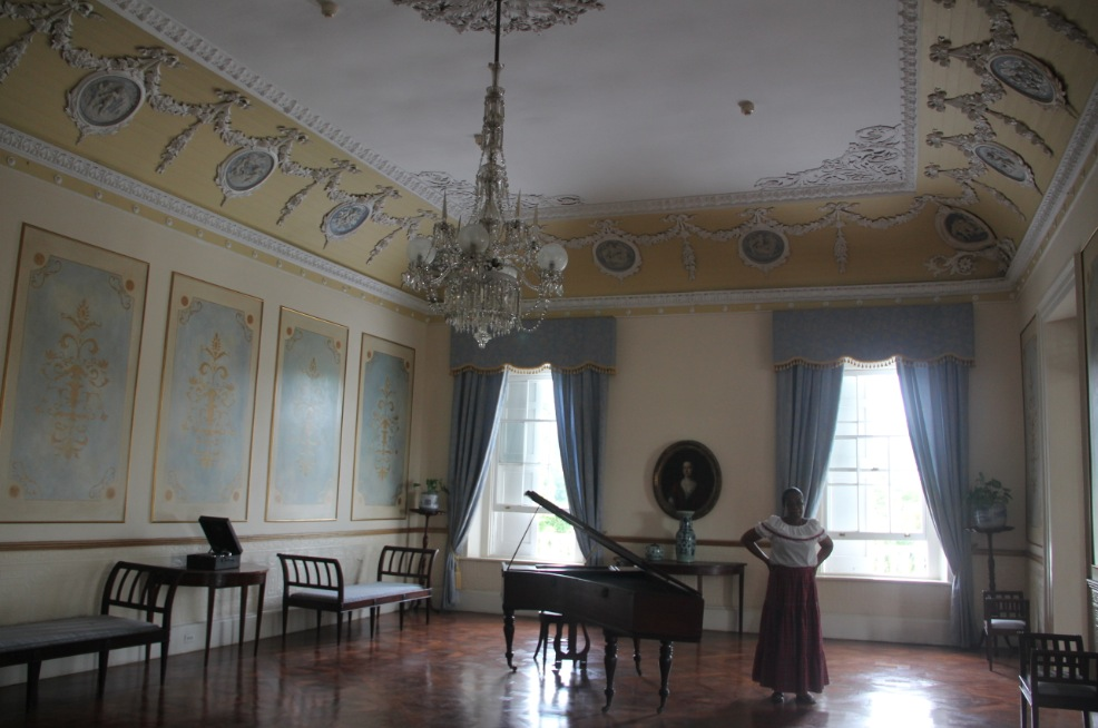 Wedgwood ceiling and English chandelier at Devon House
