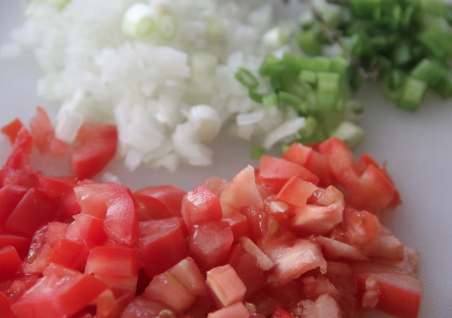 Chopped ingredients for Saltfish